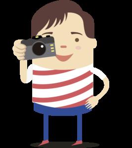 Nico tomando foto con una cámara