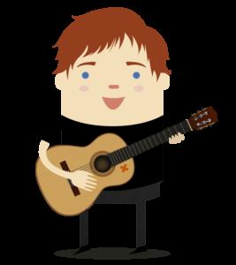 Ed Sheeran tocando guiarra