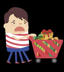 Nico con un carrito de compras lleno