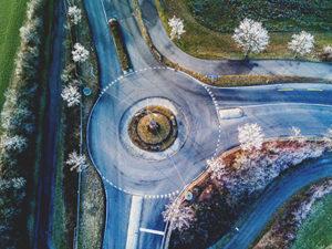 Vista aérea de una rotonda