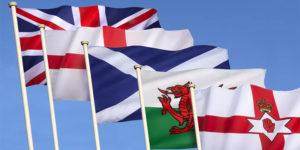 Banderas de paises que conforman el Reino Unido
