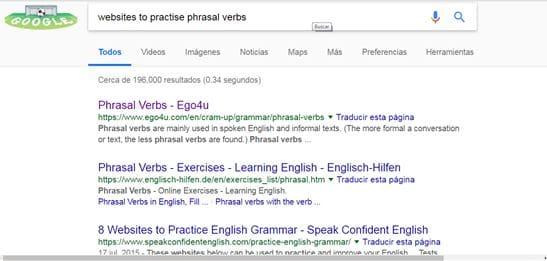 Resultados de búsqueda en Google sobre Phrasal Verbs