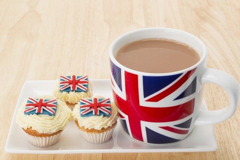Tazas de té con diseño británico